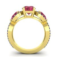 Three Stone Pave Varsa Ruby Ring with Blue Sapphire in 18k Yellow Gold