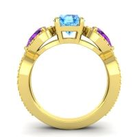 Three Stone Pave Varsa Swiss Blue Topaz Ring with Amethyst and Citrine in 14k Yellow Gold