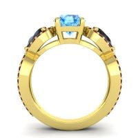 Three Stone Pave Varsa Swiss Blue Topaz Ring with Black Onyx and Garnet in 14k Yellow Gold