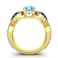 Three Stone Pave Varsa Swiss Blue Topaz Ring with Blue Sapphire in 18k Yellow Gold