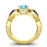 Three Stone Pave Varsa Swiss Blue Topaz Ring with Blue Sapphire and Ruby in 14k Yellow Gold