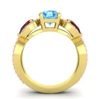 Three Stone Pave Varsa Swiss Blue Topaz Ring with Garnet and Pink Tourmaline in 18k Yellow Gold