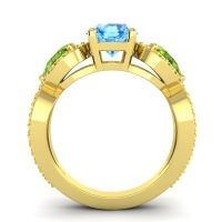 Three Stone Pave Varsa Swiss Blue Topaz Ring with Peridot and Citrine in 18k Yellow Gold