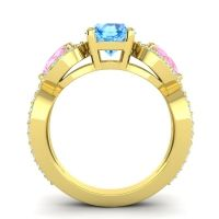 Three Stone Pave Varsa Swiss Blue Topaz Ring with Pink Tourmaline and Diamond in 14k Yellow Gold