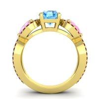 Three Stone Pave Varsa Swiss Blue Topaz Ring with Pink Tourmaline and Garnet in 18k Yellow Gold