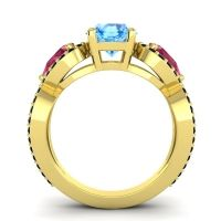 Three Stone Pave Varsa Swiss Blue Topaz Ring with Ruby and Black Onyx in 18k Yellow Gold