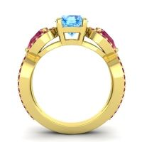 Three Stone Pave Varsa Swiss Blue Topaz Ring with Ruby in 14k Yellow Gold