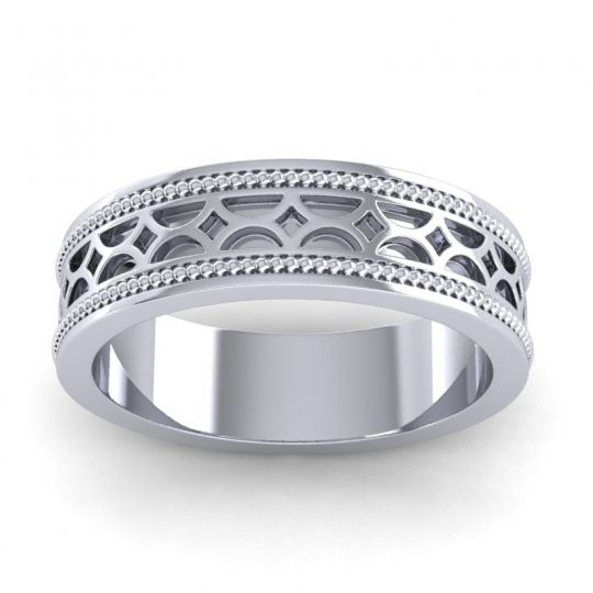 Polished Milgrain Dvara Ring in 14k White Gold