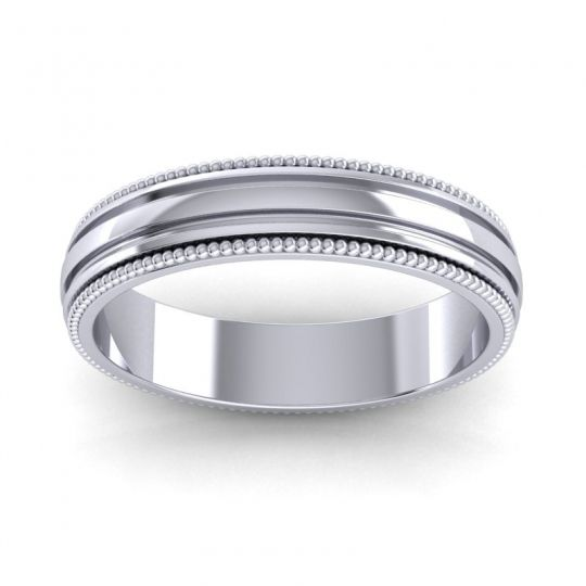 Polished Milgrain Pravana Band in 14k White Gold