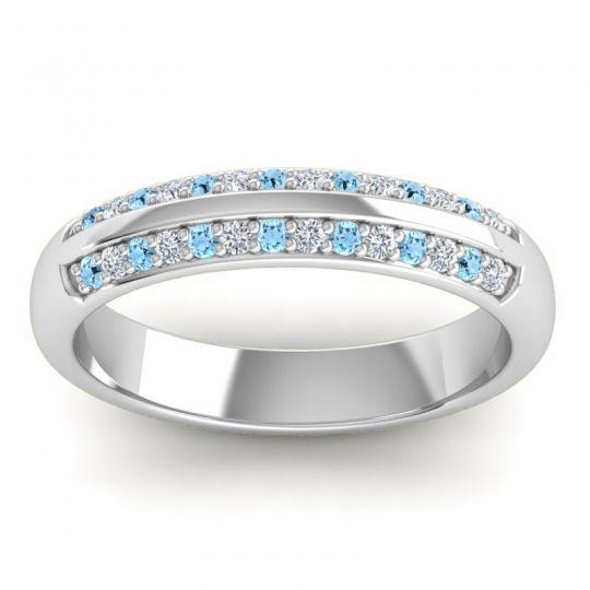 Half Eternity Vamza Aquamarine Band with Diamond in 14k White Gold