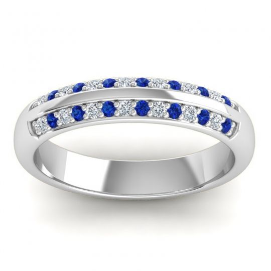 Diamond Half Eternity Vamza Band with Blue Sapphire in 14k White Gold