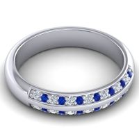 Half Eternity Vamza Diamond Band with Blue Sapphire in 14k White Gold
