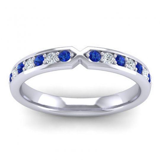 Blue Sapphire Half Eternity Atani Band with Diamond in 18k White Gold