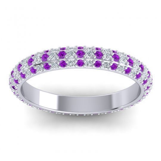 Eternity Pave Giri Amethyst Band with Diamond in 14k White Gold