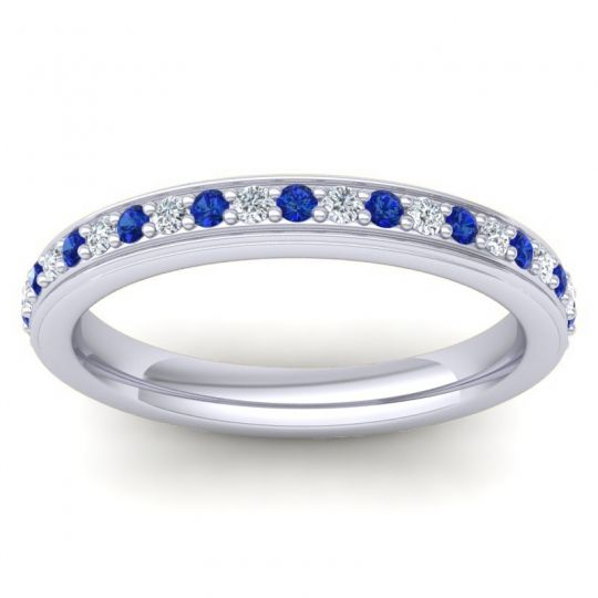 Eternity Sopana Blue Sapphire Band with Diamond in 18k White Gold