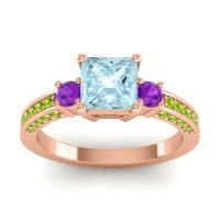 Art Deco Three Stone Stambha Aquamarine Ring with Amethyst and Peridot in 14K Rose Gold