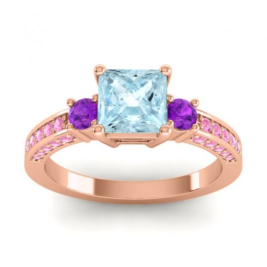 Art Deco Three Stone Stambha Aquamarine Ring with Amethyst and Pink Tourmaline in 14K Rose Gold