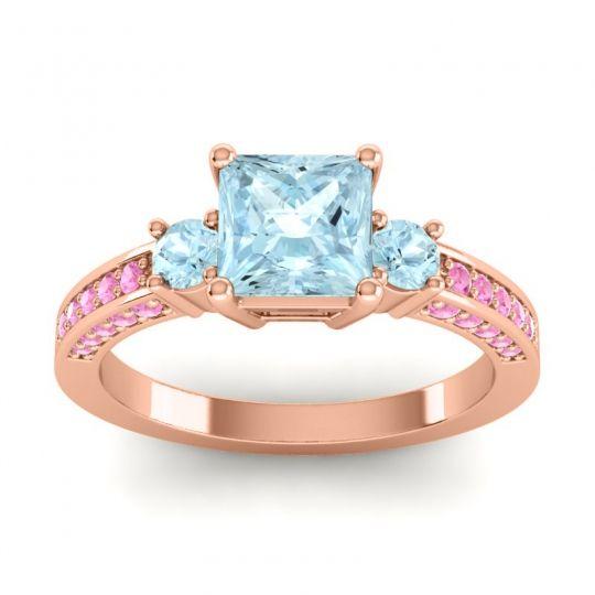 Aquamarine Art Deco Three Stone Stambha Ring with Pink Tourmaline in 14K Rose Gold