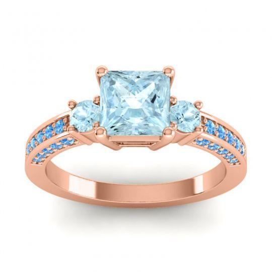 Art Deco Three Stone Stambha Aquamarine Ring with Swiss Blue Topaz in 14K Rose Gold