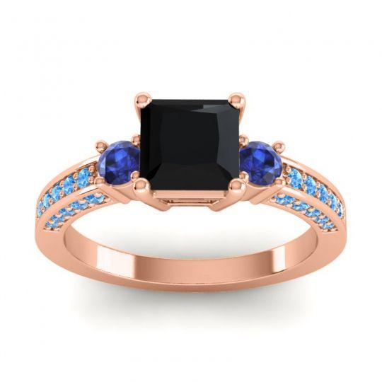 Black Onyx Art Deco Three Stone Stambha Ring with Blue Sapphire and Swiss Blue Topaz in 18K Rose Gold
