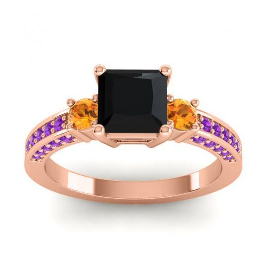 Art Deco Three Stone Stambha Black Onyx Ring with Citrine and Amethyst in 14K Rose Gold