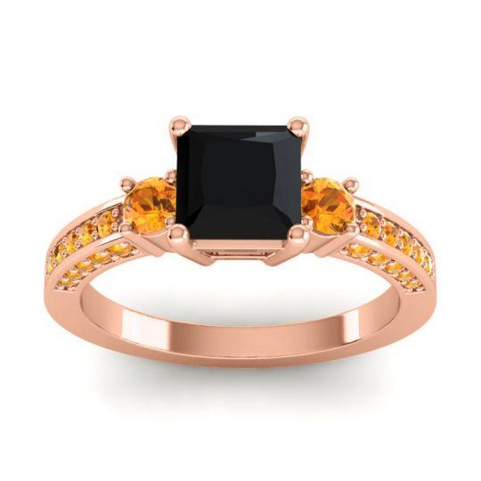 Art Deco Three Stone Stambha Black Onyx Ring with Citrine in 18K Rose Gold