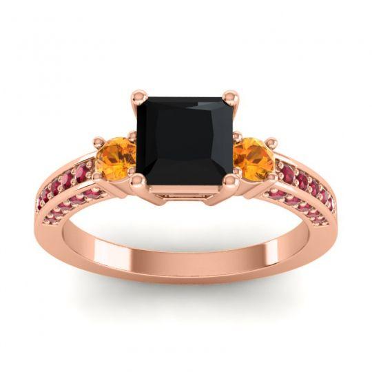 Art Deco Three Stone Stambha Black Onyx Ring with Citrine and Ruby in 14K Rose Gold