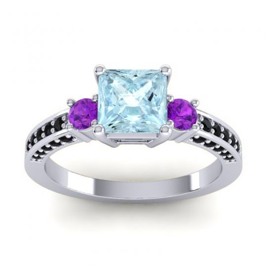 Art Deco Three Stone Stambha Aquamarine Ring with Amethyst and Black Onyx in Platinum