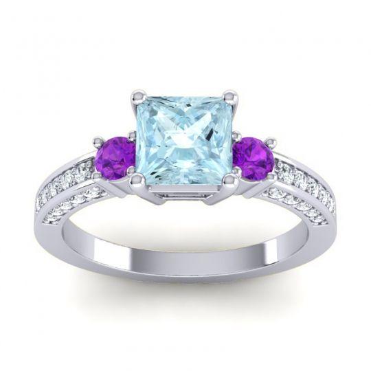 Art Deco Three Stone Stambha Aquamarine Ring with Amethyst and Diamond in 14k White Gold