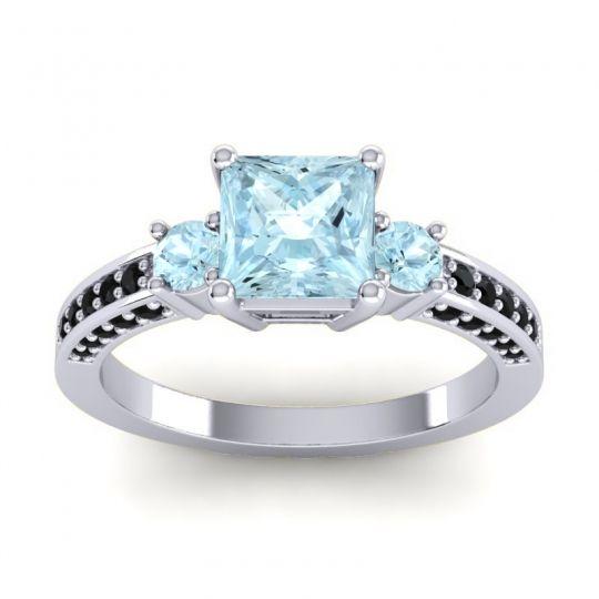Aquamarine Art Deco Three Stone Stambha Ring with Black Onyx in 18k White Gold