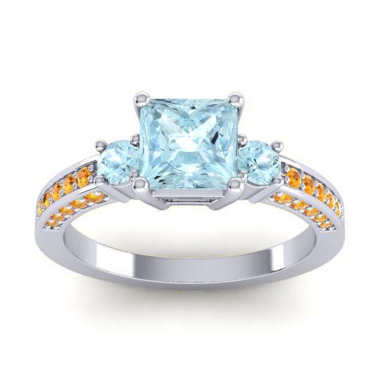 Aquamarine Art Deco Three Stone Stambha Ring with Citrine in 18k White Gold