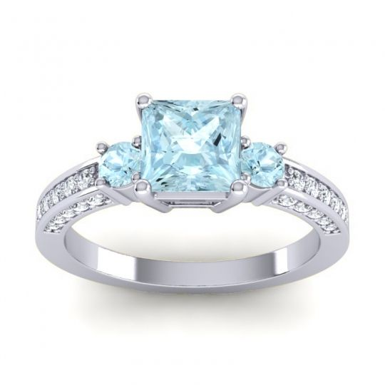 Art Deco Three Stone Stambha Aquamarine Ring with Diamond in 18k White Gold