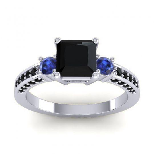 Art Deco Three Stone Stambha Black Onyx Ring with Blue Sapphire in 18k White Gold