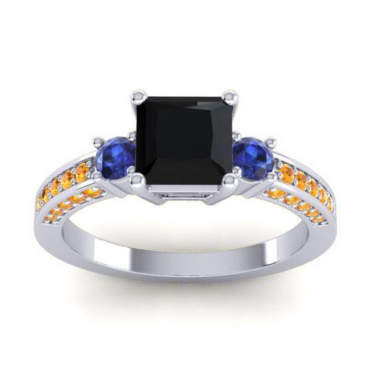 Art Deco Three Stone Stambha Black Onyx Ring with Blue Sapphire and Citrine in 18k White Gold