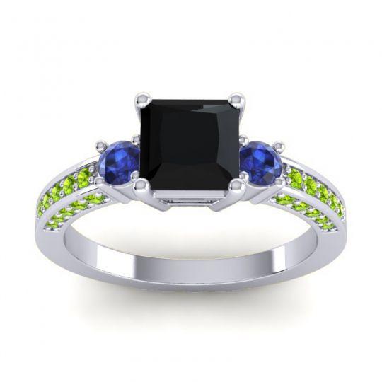 Art Deco Three Stone Stambha Black Onyx Ring with Blue Sapphire and Peridot in Palladium