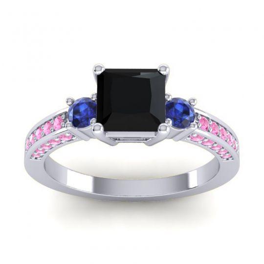Art Deco Three Stone Stambha Black Onyx Ring with Blue Sapphire and Pink Tourmaline in Palladium