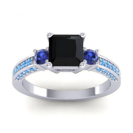 Art Deco Three Stone Stambha Black Onyx Ring with Blue Sapphire and Swiss Blue Topaz in 18k White Gold