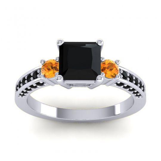 Art Deco Three Stone Stambha Black Onyx Ring with Citrine in Platinum