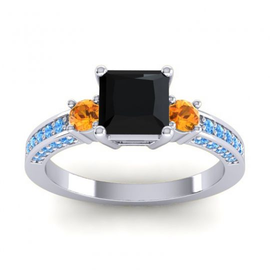 Art Deco Three Stone Stambha Black Onyx Ring with Citrine and Swiss Blue Topaz in Platinum