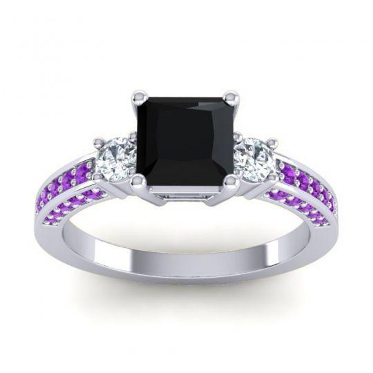 Art Deco Three Stone Stambha Black Onyx Ring with Diamond and Amethyst in 18k White Gold