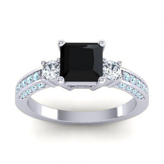 Art Deco Three Stone Stambha Black Onyx Ring with Diamond and Aquamarine in Platinum