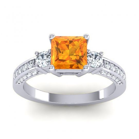 Art Deco Three Stone Stambha Citrine Ring with Diamond in 14k White Gold