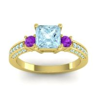 Aquamarine Art Deco Three Stone Stambha Ring with Amethyst in 18k Yellow Gold