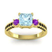 Art Deco Three Stone Stambha Aquamarine Ring with Amethyst and Black Onyx in 18k Yellow Gold
