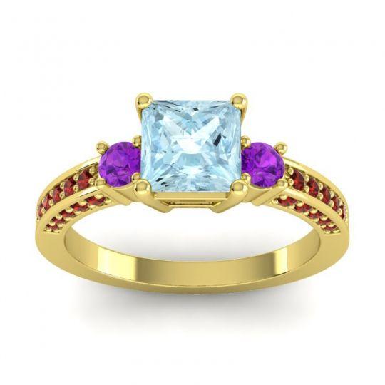 Art Deco Three Stone Stambha Aquamarine Ring with Amethyst and Garnet in 18k Yellow Gold
