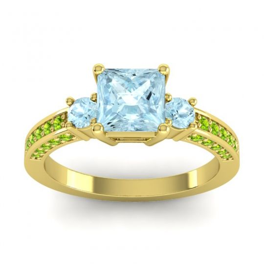 Aquamarine Art Deco Three Stone Stambha Ring with Peridot in 14k Yellow Gold