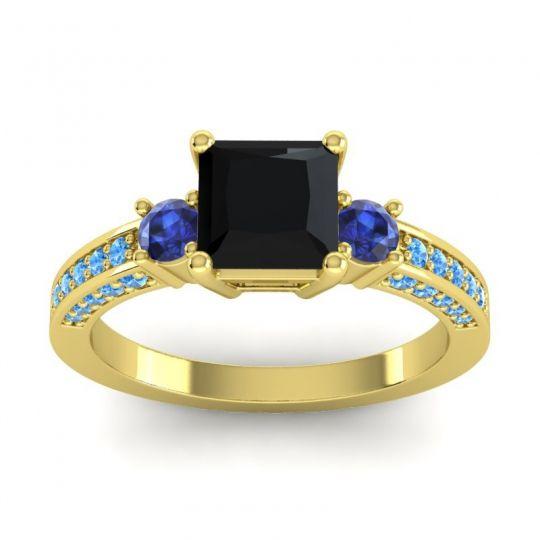 Black Onyx Art Deco Three Stone Stambha Ring with Blue Sapphire and Swiss Blue Topaz in 18k Yellow Gold
