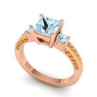 Art Deco Three Stone Stambha Aquamarine Ring with Citrine in 18K Rose Gold