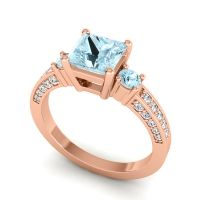 Art Deco Three Stone Stambha Aquamarine Ring with Diamond in 18K Rose Gold