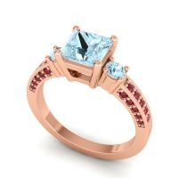 Aquamarine Art Deco Three Stone Stambha Ring with Ruby in 18K Rose Gold